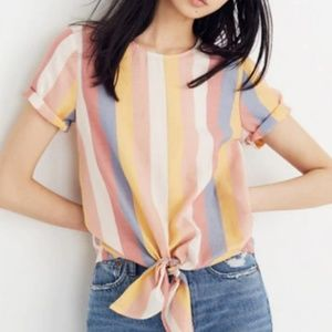 Madewell Button Back Tie Tee in Sherbet Stripe